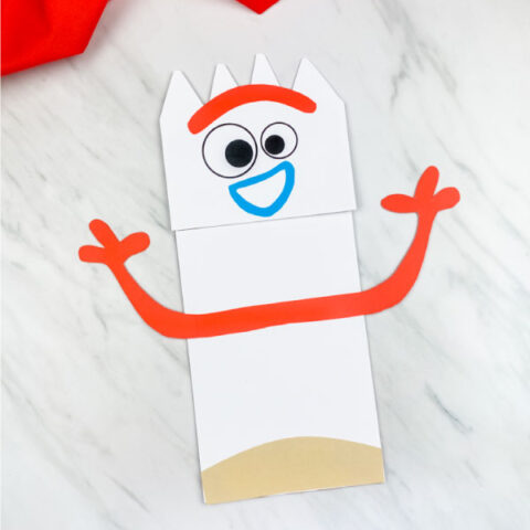 happy paper bag forky craft with arms