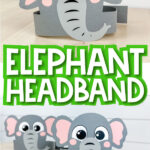 "Collage of elephant headband craft images with the words ""elephant headband"" in the middle"