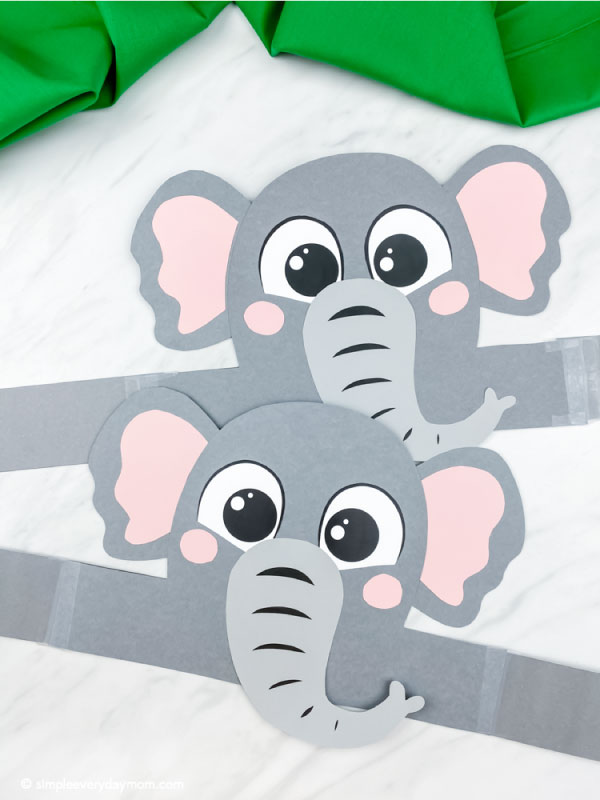 Two flat elephant headband crafts