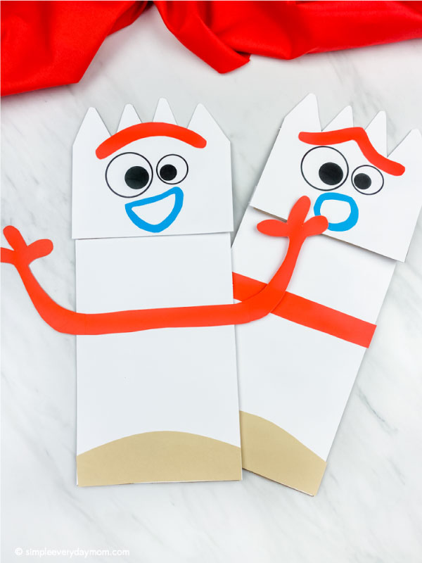 surprised and happy paper bag forky puppet