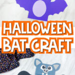 collage of paper bag bat craft images with the words Halloween bat craft in the middle