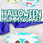 collage of paper plate mummy craft images with the words halloween mummy craft in the middle