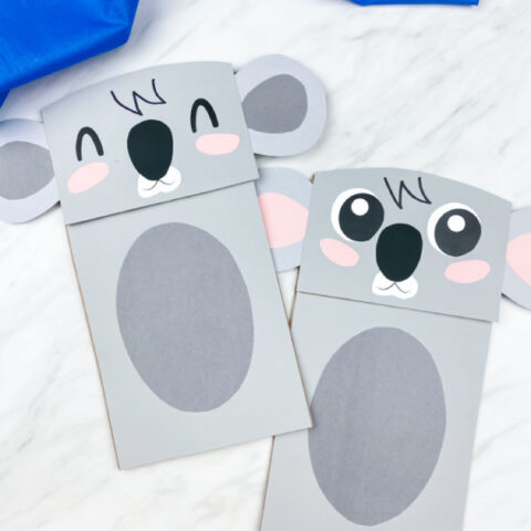 Two paper bag koala crafts