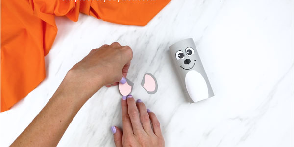 Hands gluing pink inner ear to gray outer ear of mouse craft