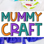 collage of paper plate mummy craft images with the words mummy craft in the middle