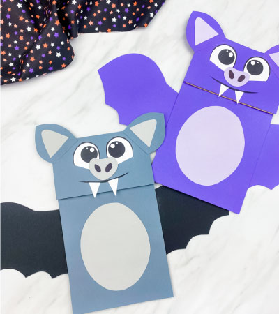 purple and gray paper bag bat crafts
