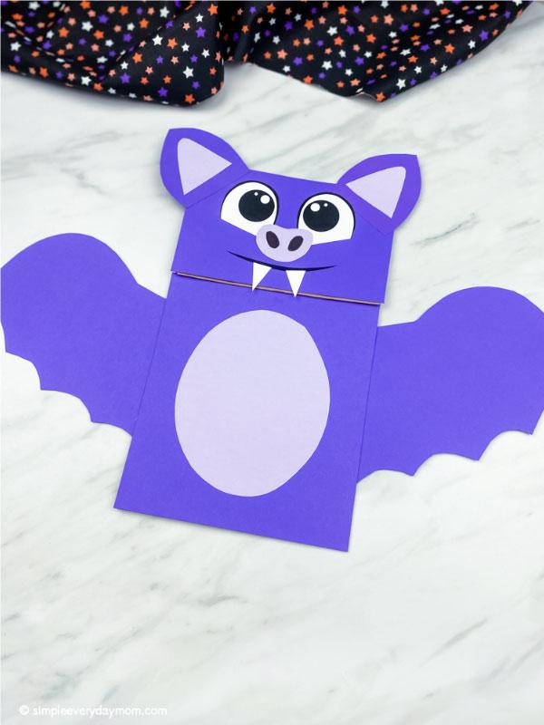 purple paper bag bat craft