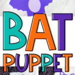 collage of paper bag bat craft images with the words bat puppet in the middle