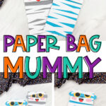 collage of paper bag mummy images with the words paper bag mummy in the middle