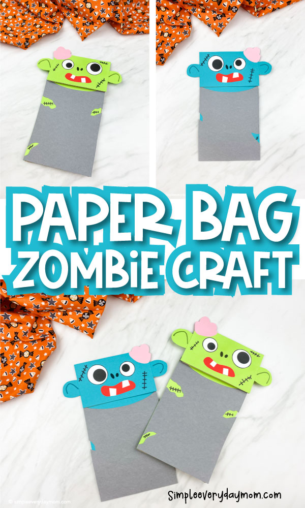 Collage of blue and green zombie paper bag craft images with the words paper bag zombie craft in the middle