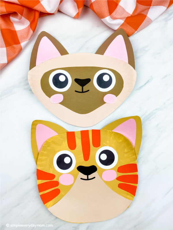 a siamese paper plate cat craft with tabby cat paper plate cat craft below it