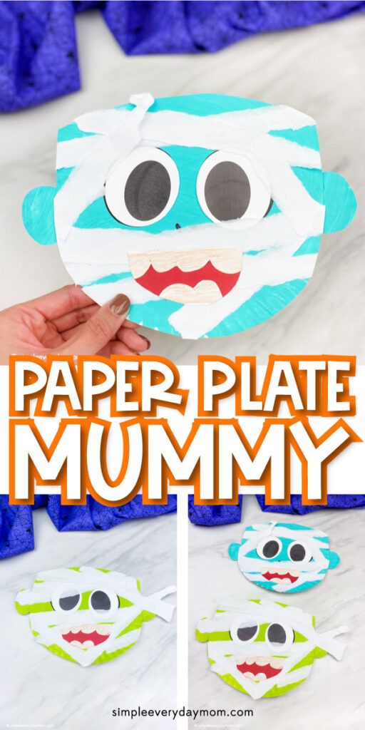 collage of paper plate mummy craft images with the words paper plate mummy in the middle