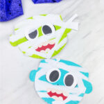green and blue paper plate mummy craft