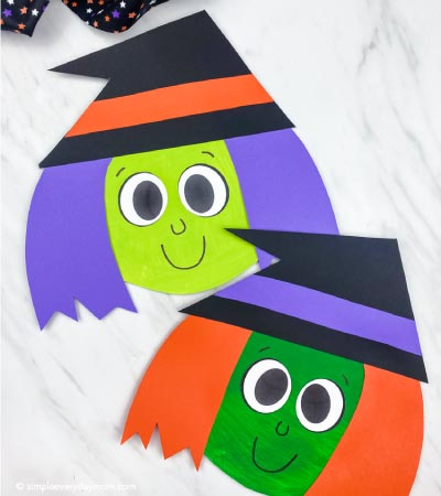 light green and dark green paper plate witch craft