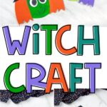 collage of paper plate witch craft images with the words witch craft in the middle