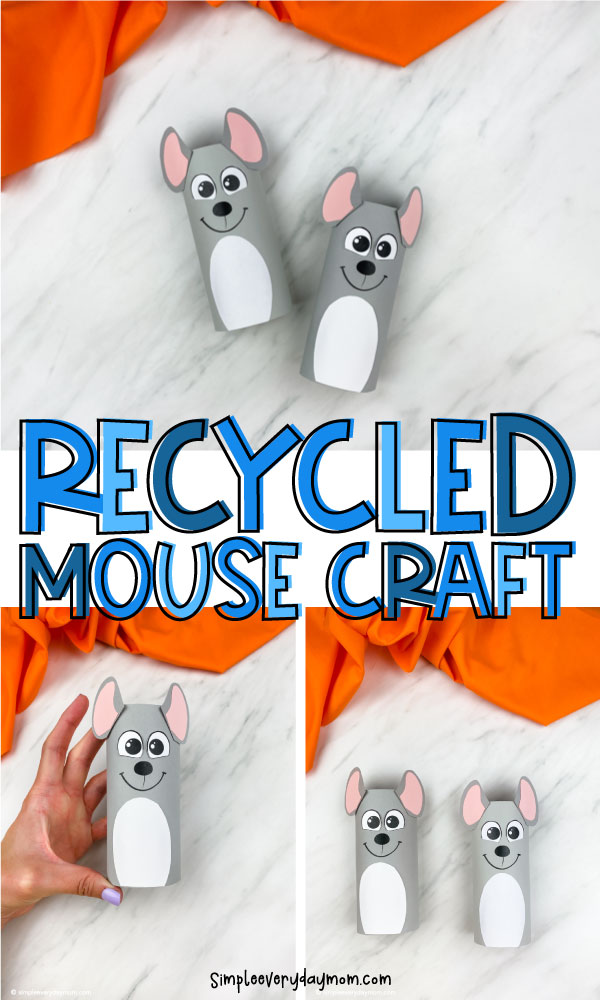 "Cardboard tube mouse craft image collage with words ""recycled mouse craft"" in the middle"