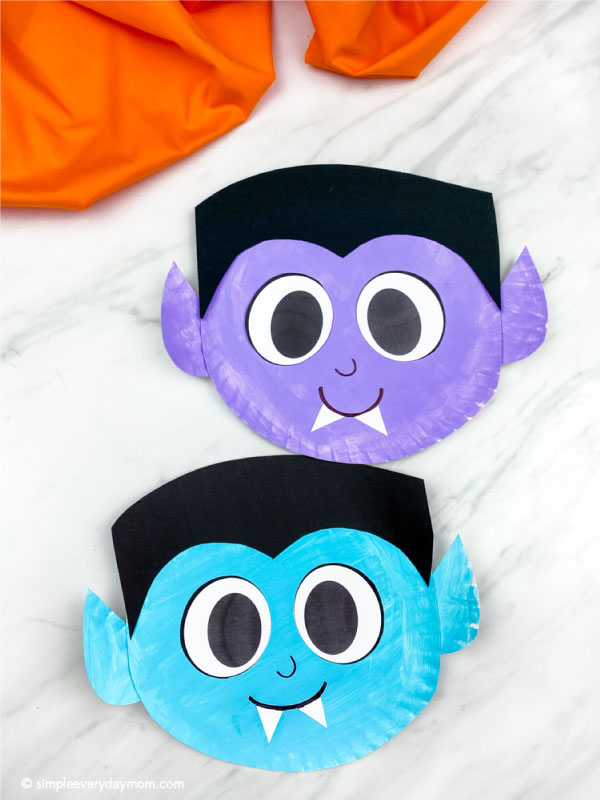 blue and purple paper plate vampire crafts