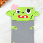 Green zombie paper bag puppet