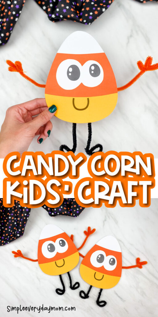 paper candy corn craft images with the words candy corn kids' craft in the middle
