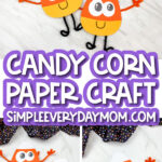 paper candy corn craft with the words candy corn paper craft simpleeverydaymom.com in the middle