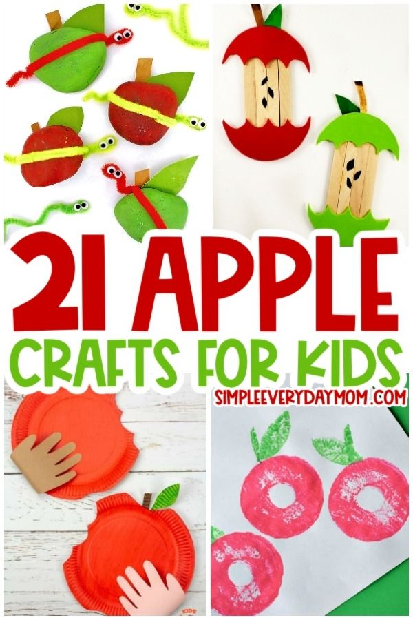 collage of apple craft images for kids with the words 21 apple crafts for kids in the middle