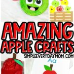 collage of apple craft images for kids with the words amazing apple crafts in the middle