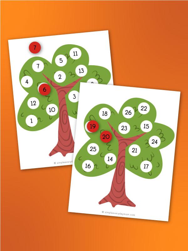 apple tree number matching worksheet