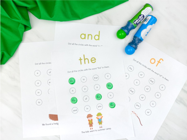 sight word do a dot printables
