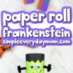 cardboard tube frankenstein craft images with the words paper roll frankenstein simpleeverydaymom.com in the middle
