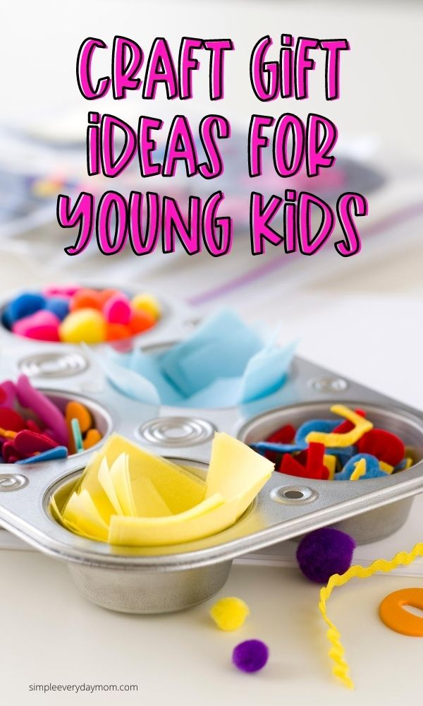 craft supplies in muffin tin with the words craft gift ideas for young kids
