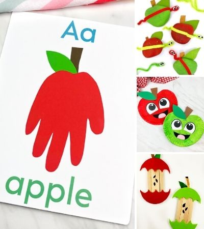 collage of apple craft images for kids