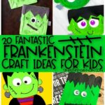 collage of frankenstein craft images for kids with the words 20 fantastic frankenstein craft ideas for kids in the middle