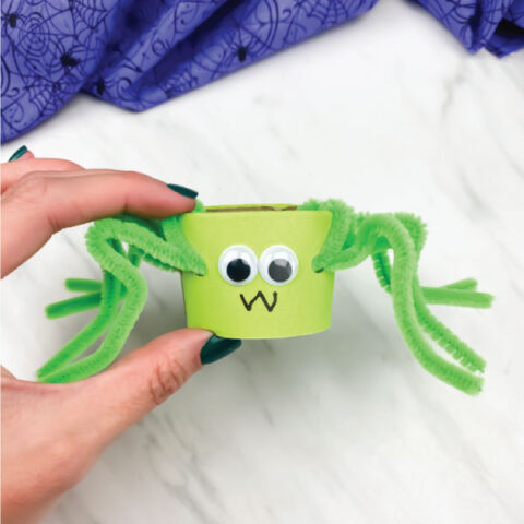 hand holding toilet paper roll pipe cleaner spider in green