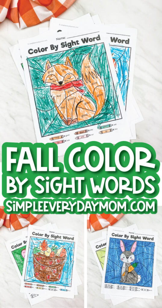 fall color by sight word printable image collage with the words fall color by sight word simpleeverydaymom.com in the middle