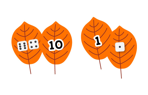 fall leaves number matching activity