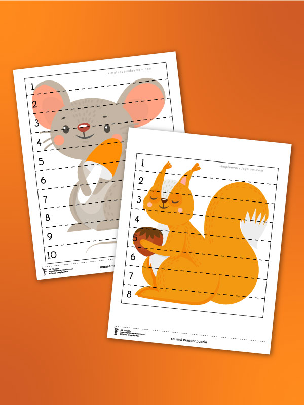 preschool number strip puzzles