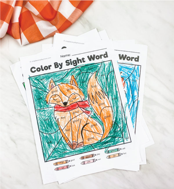 fox color by sight word printable
