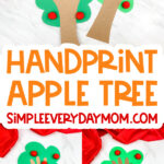 collage of handprint apple tree craft images with the words handprint apple tree in the middle
