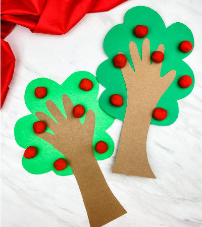 two pom pom and paper apple tree craft