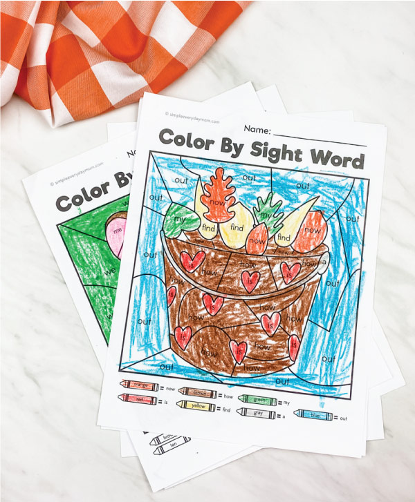 leaves in a basket color by sight word printable
