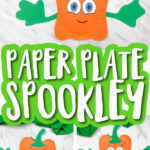 Collage of paper plate spookley crafts with the words Paper plate spookley in the middle