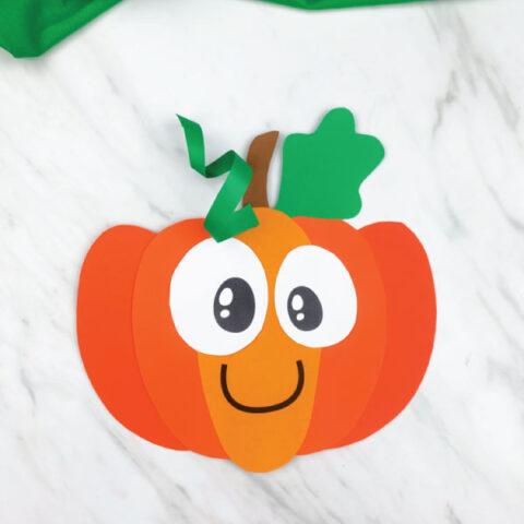 orange paper pumpkin craft for kids