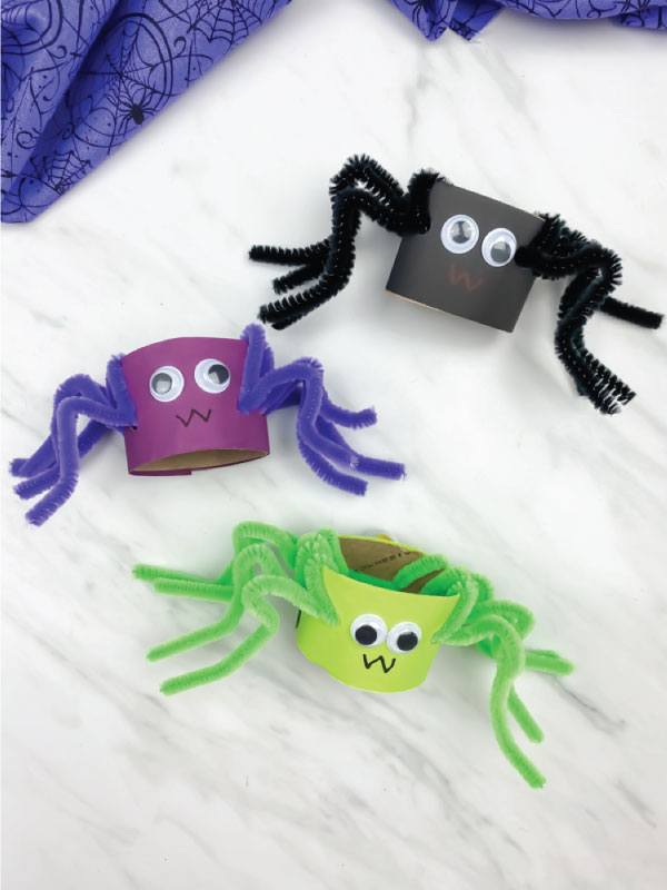 black, purple and green pipe cleaner spiders