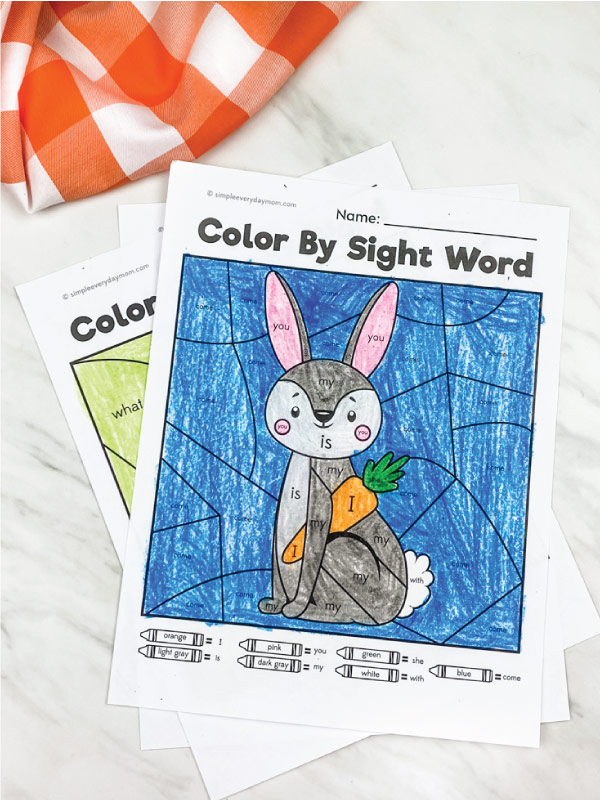rabbit color by sight word printable