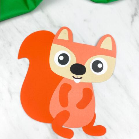 closeup of orange paper squirrel craft