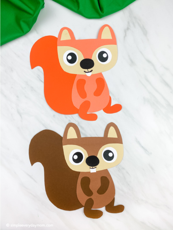 orange and brown paper squirrel craft
