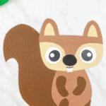 closeup of brown paper squirrel craft