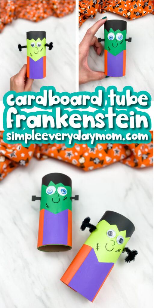 cardboard tube frankenstein craft images with the words cardboard tube frankenstein simpleeverydaymom.com in the middle