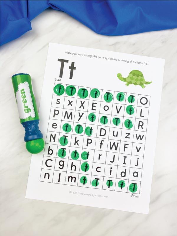 letter maze worksheet