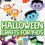collage of Halloween craft for kids images with the words Halloween crafts for kids in the middle